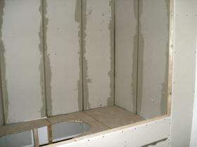 Rigips Terrarium für Wasseragamen gespachtelt